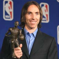 Steve Nash poses with the Maurice Podoloff Trophy on Sunday afternoon.